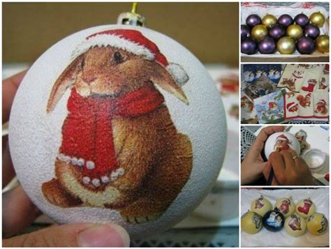 Decoupage Baubles - how to decoupage bauble ornaments with napkin