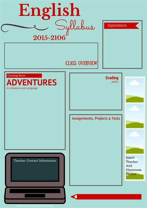syllabus template visual syllabus template made with canva edtech ela