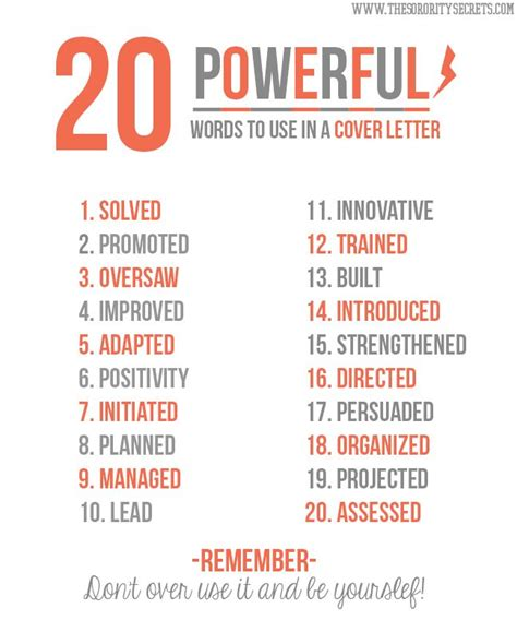 words for resume 20 powerful words to use in a resume