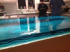 Blue Kitchen Countertops On blue wave glass counter top modern kitchen other