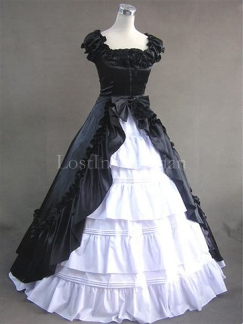 Wst 13602 White Formal Dress black and white colonial inspired dress