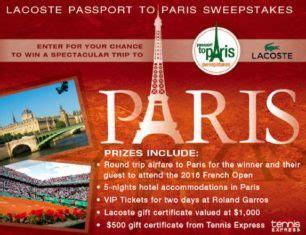 Www Tennischannel Com Sweepstakes - lacoste passport to paris sweepstakes sweepstakes directory