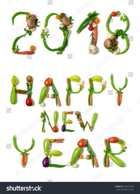 new year vegetable number 2018 text happy new year stock photo 744331099
