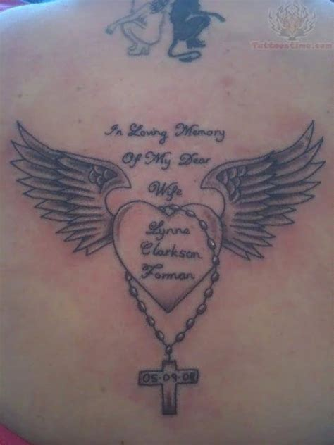 heartbeat tattoo memorial winged heart and cross memorial tattoo
