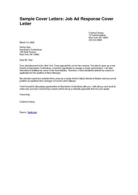 Simple Sample Cover Letter Job Ad Response Simple Job