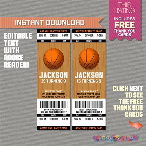 printable basketball ticket template basketball ticket invitation with free thank you card