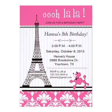 newspaper theme invitation paris eiffel tower theme birthday party pink 5x7 paper