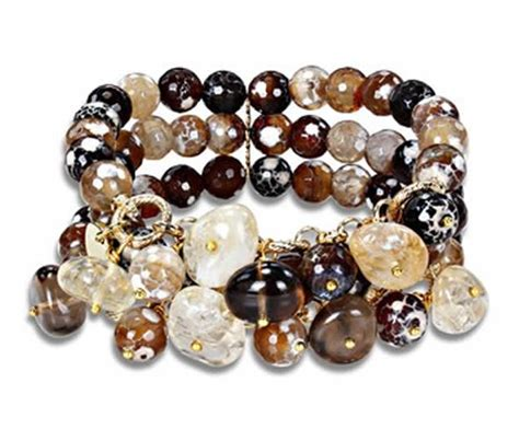 Gemstone Jewelry Design Ideas by Multicolor Quartz Charm And Brown Agate Beaded Bracelet Design For Jewelry Gift