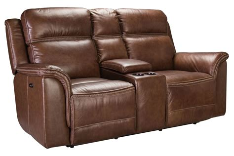 Power Reclining Leather Loveseat With Console by Fargo Leather Power Reclining Loveseat With Console