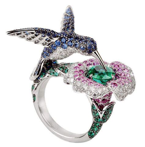 Ring Pendant By Bird by Boucheron Hummingbird Flower Ring In Gorgeous Coloured
