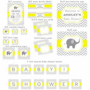 Office Table Decoration Items printable gray and yellow elephant chevron baby by