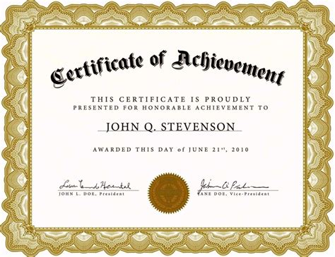 free certificate templates for word 2010 template