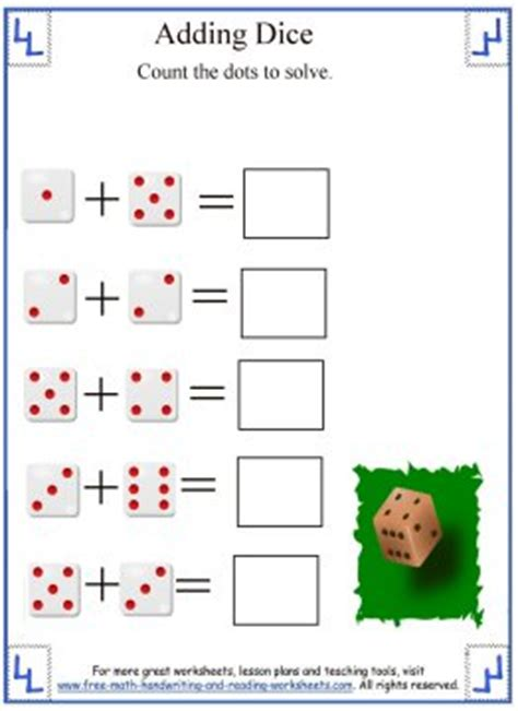 printable addition dice games math addition worksheets adding dice