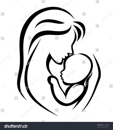 mother and baby symbol hand drawn silhouette stock vector