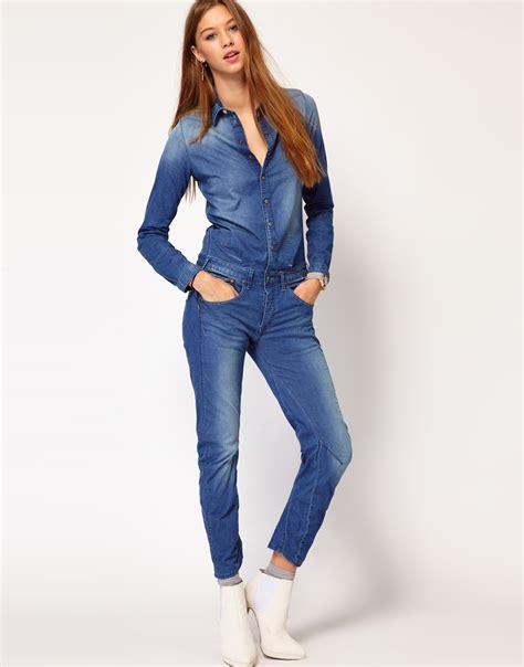 g gstar denim jumpsuit in blue lyst