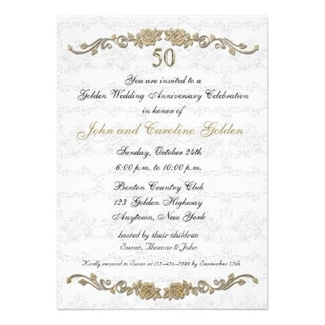 50th anniversary rose border white invitation