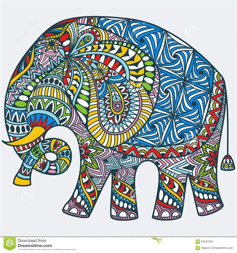indian elephant doodle vector color decorated indian elephant stock vector
