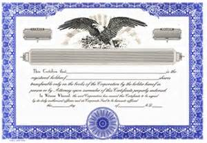 blank stock certificate template blank certificates corporation standard blue