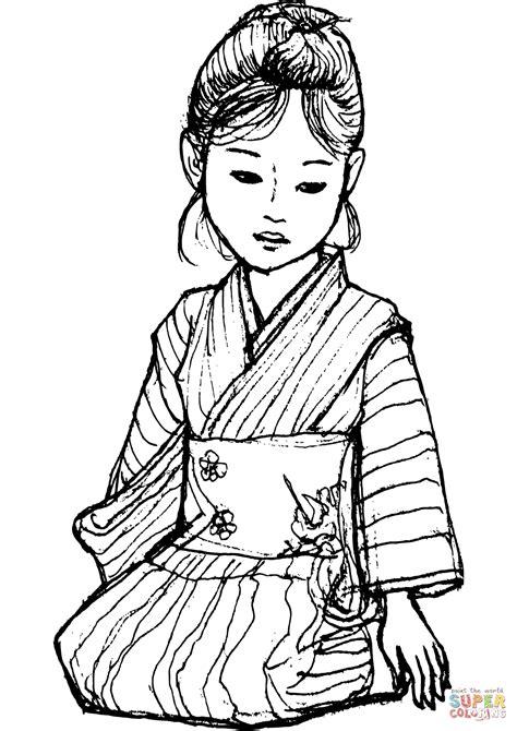 japanese kimono coloring page japanese girl in kimono coloring page free printable