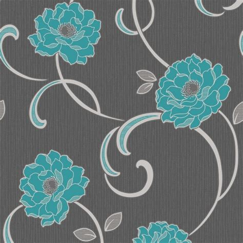 teal and black wallpaper uk buy fine decor florentina wallpaper charcoal teal silver