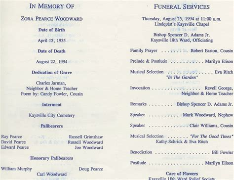 lds funeral program template lds funeral program template quotes
