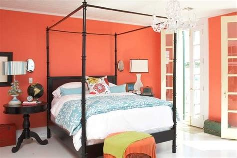 coral and aqua bedroom