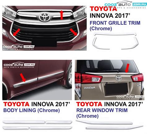 Frame Toyota Inova Side Ears toyota innova 2016 2017 chrome side doors cladding molding trim guard moulding