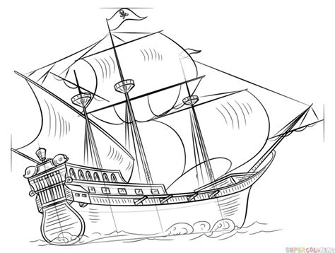 pirate boat drawing easy how to draw a pirate ship step by step drawing tutorials