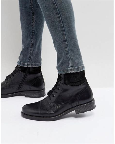 aldo senehauz lace up boots in black in black for lyst