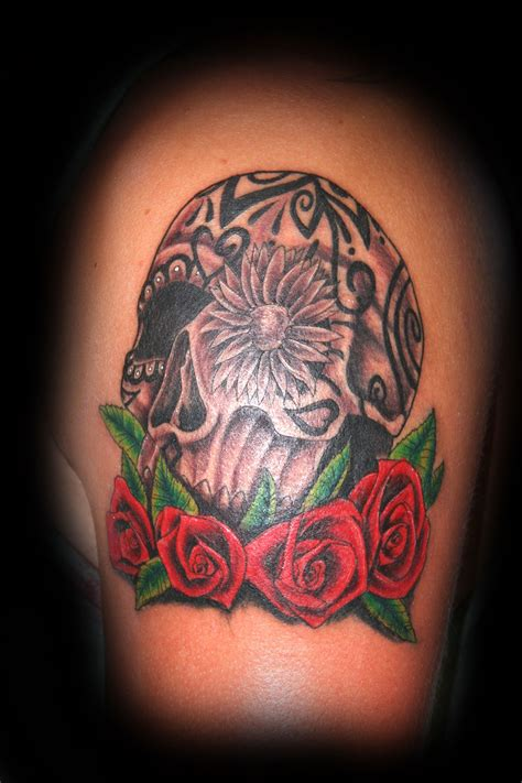 sugar skulls and roses tattoos mexican skull roses models picture