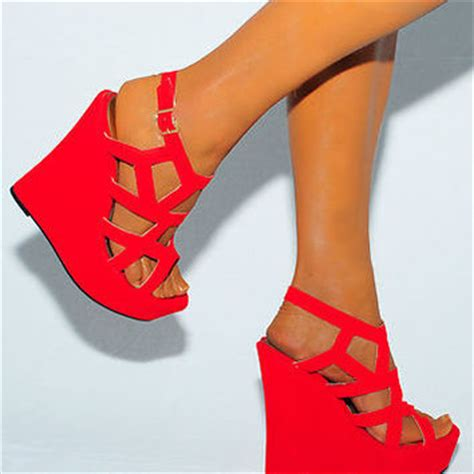 High Heels Wadges Lld 354 bright cutout suede wedges from saffron109 on ebay