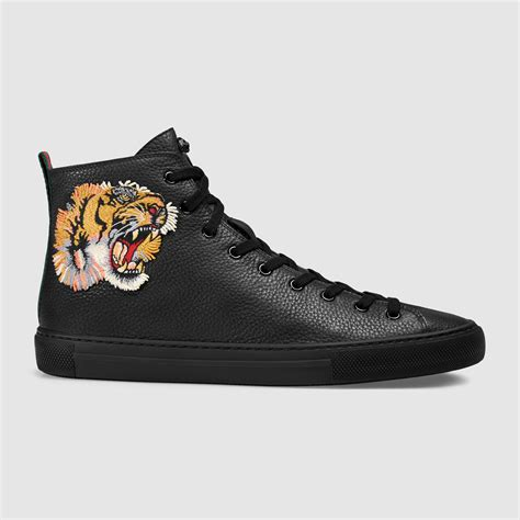 Gucci Top gucci leather high top with tiger in multicolor for lyst