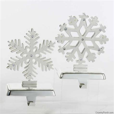 silver snowflakes stocking hangers