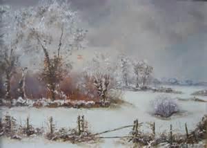paysage creusois sous la neige huile 2 photo de toiles
