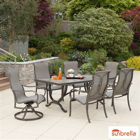costco patio furniture dining sets agio montgomery 7 sling dining set cover costco uk