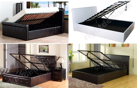 Ottoman Gas Lift Storage Bed Faux Leather Ottoman Storage Gas Lift Up Bed Single Kingsize 4 Colours Ebay