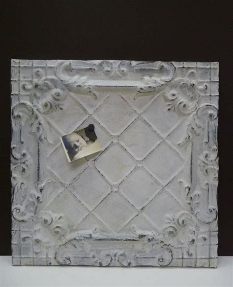 antique tin ceiling tile magnet message board large chippy