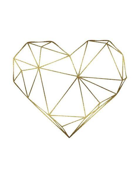 digital tattoo printer gold foil geometric art heart digital print scandinavian