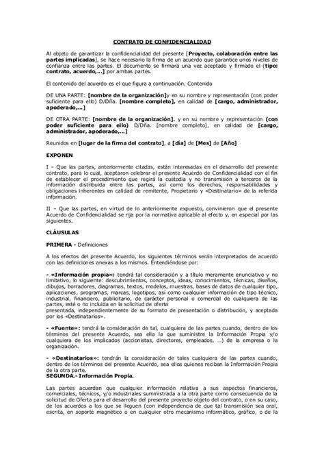 formato de carta de responsabilidad y confidencialidad modelo contrato de confidencialidad