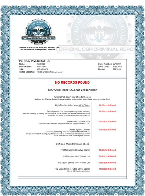 Complete Criminal Record Records Sle
