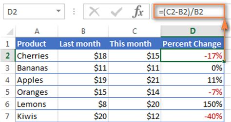 how to calculate percentage in excel percent formula