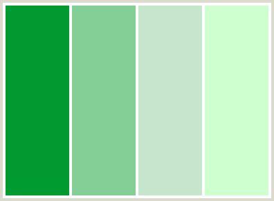 ColorCombo118 with Hex Colors #009A31 #84CF96 #C6E7CE #CEFFCE