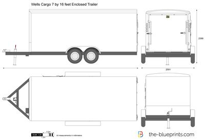 Wells Cargo 7 By 16 Feet Enclosed Trailer Vector Drawing Trailer Wrap Design Templates