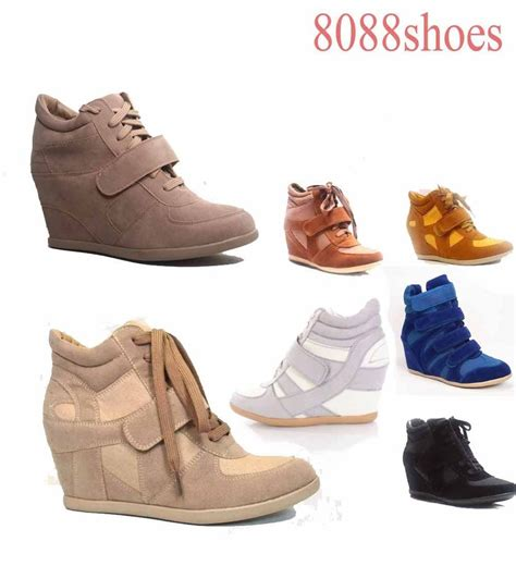 high heel sneaker boots s fashion lace up high top ankle wedge heels sneaker