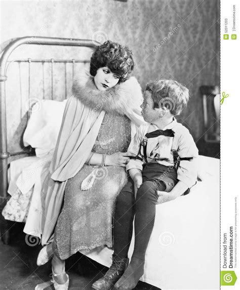 mom son bed mom having talk with son on bed stock image image 52011203