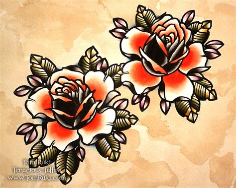 orange roses tattoo orange roses flash print tom ruki 163 6 00 via