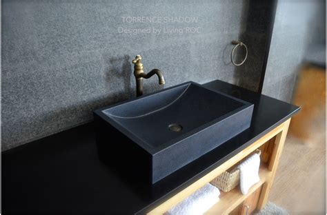 black granite in bathroom 60x40 shanxi black granite bathroom basin sink honed