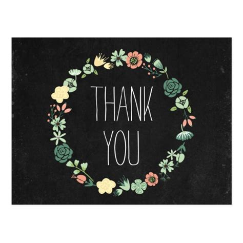 chalkboard thank you card template floral chalkboard thank you postcard zazzle