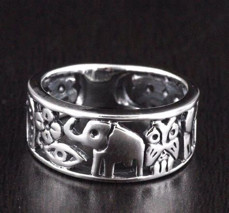 Womens 925 Sterling Silver Vintage Style Luck Elephant