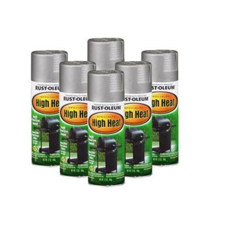 rust oleum stops rust specialty 12 oz high heat flat silver spray paint 6 pack discontinued